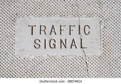 """traffic signal"" written in concrete"
