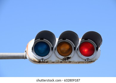 Traffic signals in Japan. The red light means stop.