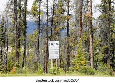 Traffic Signboard on Icefields Parkway, Canadian Rockies, Alberta, Canada