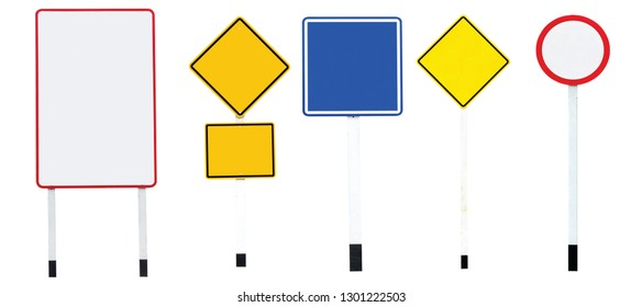 Traffic signs are blue and yellow. Isolated on white background, path, clip object