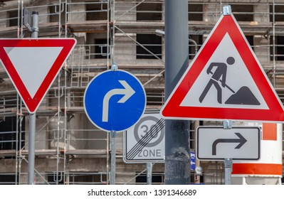 Traffic signs near a construction site in Dresden, Germany