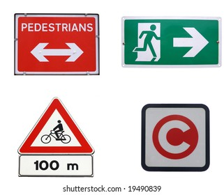Traffic signs for pedestrians, bike, congestion charging, fire exit