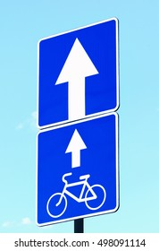 Traffic signs road for cycling and road with one-way traffic