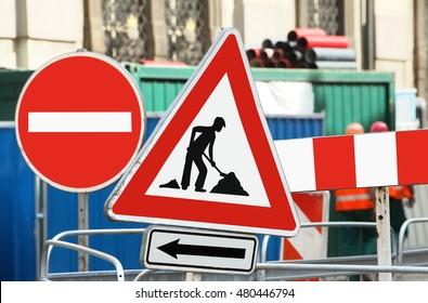 Traffic signs roadworks