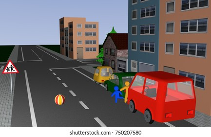 Traffic situation: Children run after a ball behind, on the street. With German road sign: beware, children playing. 3d rendering