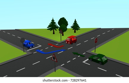 Traffic situation: Three cars at an intersection with priority and stop signs as well as directional arrows. 3d rendering