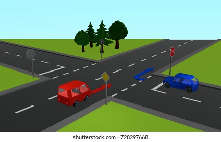 Traffic situation: two cars at a crossroads with stop sign and direction arrows. 3d rendering