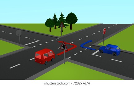 Traffic situation: two cars at an intersection with priority and stop signs as well as directional arrows. 3d rendering
