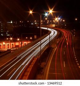 Traffic snarl at evening - long exposure - Liberec - Czech rep.