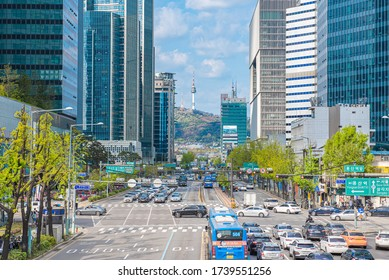 Traffic in South Korea during the day with beautiful sky,2020 April 22, Seoul South Korea