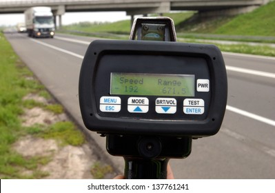 Traffic speed control device on highway monitoring vehicle speed