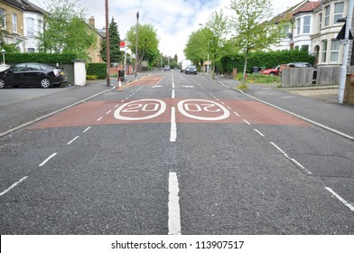 Traffic Speed Limit Twenty in London Suburban Neighborhood