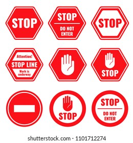 Traffic stop, restricted and dangerous signs isolated. Illustration of traffic road and stop symbol, warning and attention