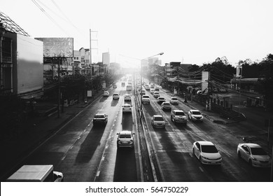 Traffic in sunset,black and white photograph