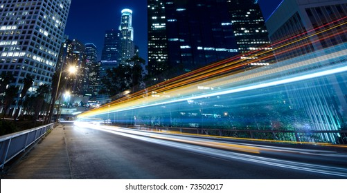 Traffic through the city (traffic seen as trails of light)
