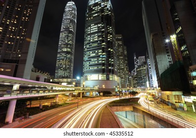 traffic through downtown in Hong kong