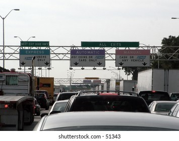 traffic at the toll booth
