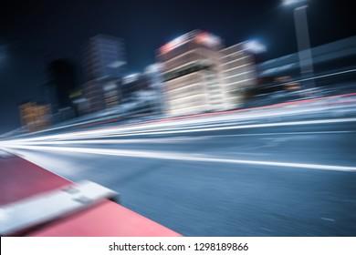 traffic trail at bridge,hangzhou,china,asia.