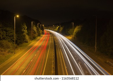 Traffic trails along the A12 at Hatfield Peverel, Essex, England