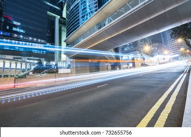 traffic trails in downtown hong kong,china,asia.