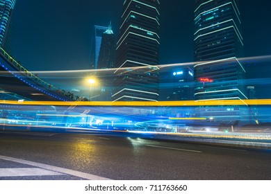 traffic trails in downtown shanghai,china,asia.