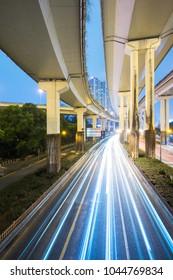 traffic trails on elevated freeway,shanghai,China.