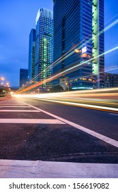 Traffic trails at twilight  on the  cityscape background in shanghai,China
