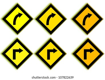 Traffic turning right  on a white background