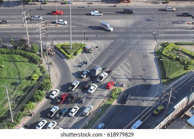 Traffic view from high angle ,Nakhonratchasima ,Thailand.