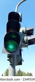 traffic warning lights on road