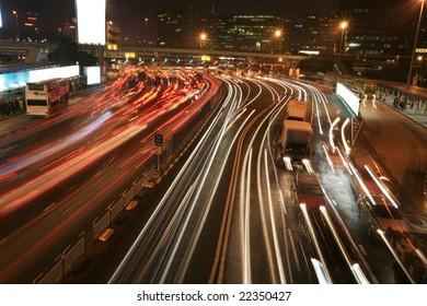 traffice through downtown in Hongkong