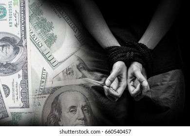 Trafficking concept with money background