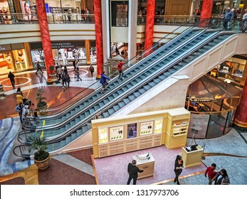 TRAFFORD, MANCHESTER - FEBRUARY 18, 2019: Interior of the Trafford Centre. It is the largest shopping centre in the UK and the first 'mega mall' which combines retail, dining and leisure facilities.