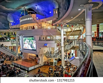 TRAFFORD, MANCHESTER - FEBRUARY 18, 2019: Interior of the Trafford Centre. It is the largest shopping centre in the UK and the first 'mega mall' which combines retail and leisure facilities.