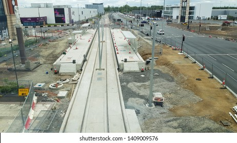 Trafford, Manchester, UK 05/27/2019 construction of an extension to Manchester Metro link tram network,