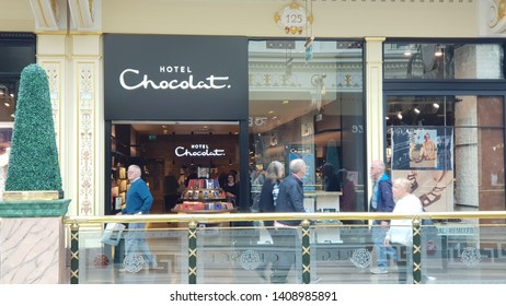 Trafford, Manchester, UK 05/27/2019 hotel chocolat retail store shop front.