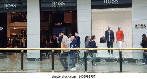 Trafford, Manchester, UK 05/27/2019 Hugo Boss retail store shop front.