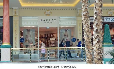 Trafford, Manchester, UK 05/27/2019 Radley London  retail store shop front.