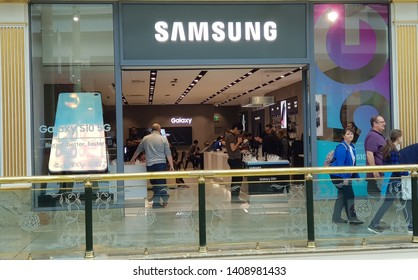 Trafford, Manchester, UK 05/27/2019 Samsung retail store shop front.
