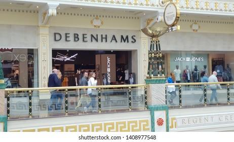 Trafford, Manchester, UK 05/27/2019 The struggling Debenhams retail group store shop front.