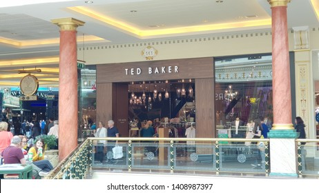Trafford, Manchester, UK 05/27/2019  Ted Baker clothing brand retail store shop front.
