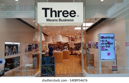Trafford, Manchester, UK 05/27/2019 Three mobile phone service provider retail store.