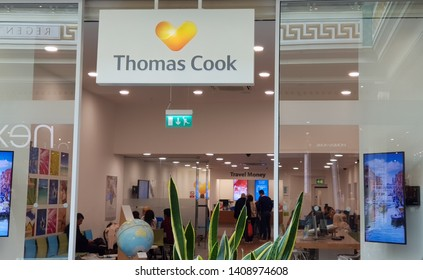 Trafford, Manchester, UK 05/27/2019 Tomas Cook travel agent retail store shop front.