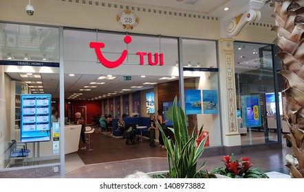 Trafford, Manchester, UK 05/27/2019 Tui travel agent retail store shop front.