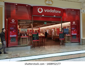 Trafford, Manchester, UK 05/27/2019 Vodafone mobile phone service retail shop.