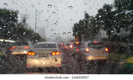 trafic jam in the rainny day, view via  front window of car
