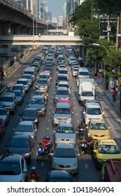 a trafic at the sathon road in the city centre at Sathon in the city of Bangkok in Thailand.  Thailand, Bangkok, November, 2017