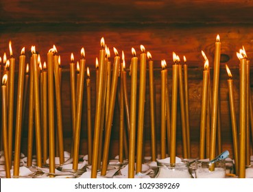 Tragedy in Kemerovo. many burning wax candles in the temple
