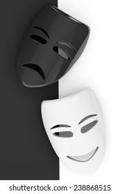 Tragicomic Theater Masks. Sad and Smile masks on a white and black background