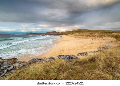 Traigh Lar beach near Horgabost on the Isle of Harris with the Isle of Taransay in the distance